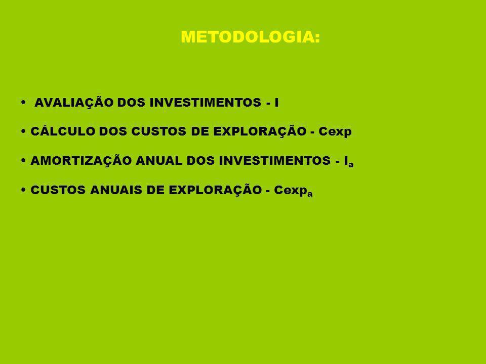 METODOLOGIA: AVALIAÇÃO DOS INVESTIMENTOS - I CÁLCULO DOS CUSTOS DE EXPLORAÇÃO - Cexp AMORTIZAÇÃO ANUAL DOS INVESTIMENTOS - I a CUSTOS ANUAIS DE EXPLORAÇÃO - Cexp a