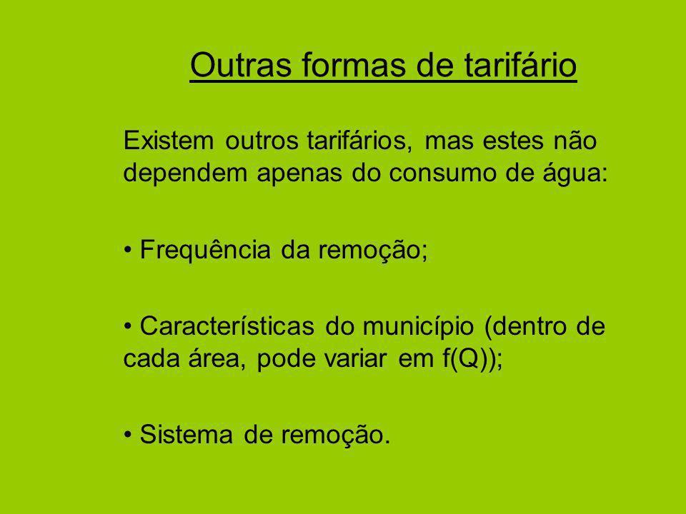 Outras formas de tarifário Existem outros tarifários, mas estes não dependem apenas do consumo de água: Frequência da remoção; Características do município (dentro de cada área, pode variar em f(Q)); Sistema de remoção.