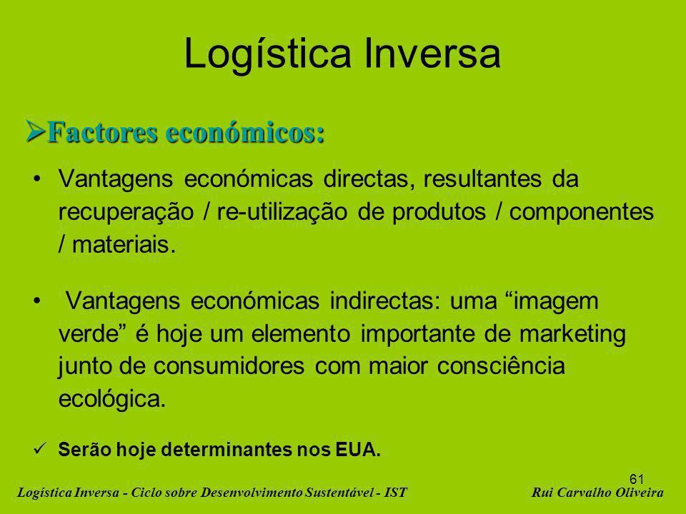 61 Logística Inversa Factores económicos: Factores económicos: Vantagens económicas directas, resultantes da recuperação / re-utilização de produtos / componentes / materiais.