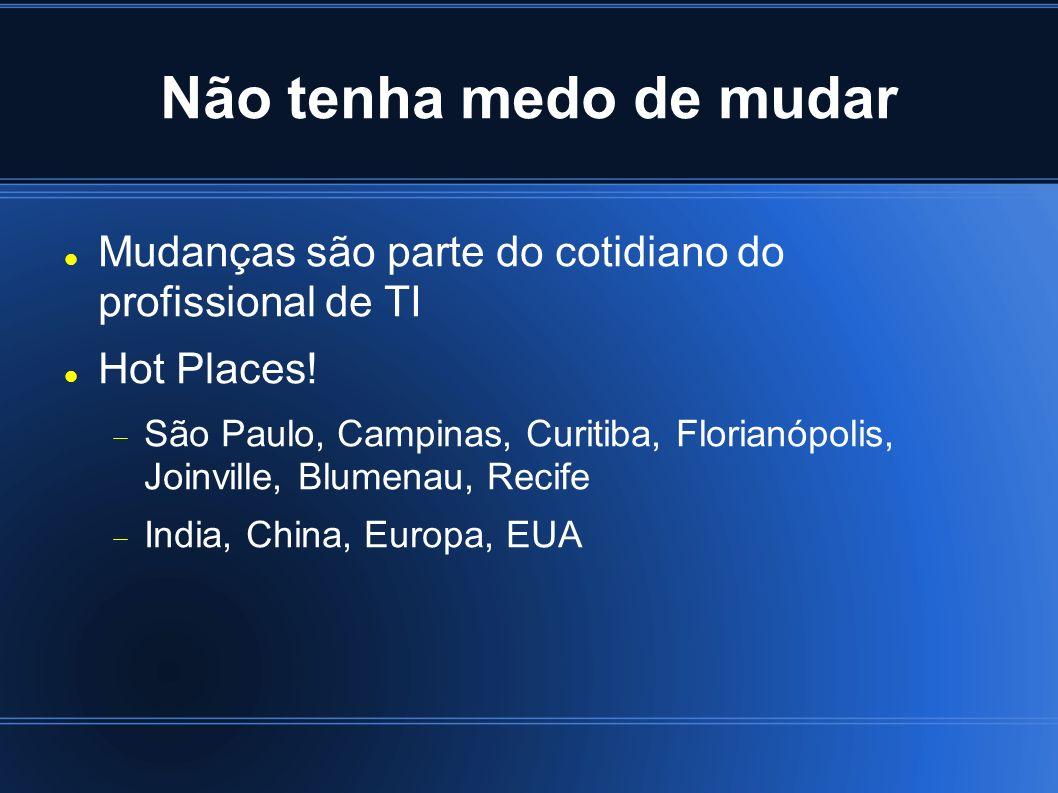Mudanças são parte do cotidiano do profissional de TI Hot Places! São Paulo, Campinas, Curitiba, Florianópolis, Joinville, Blumenau, Recife India, Chi
