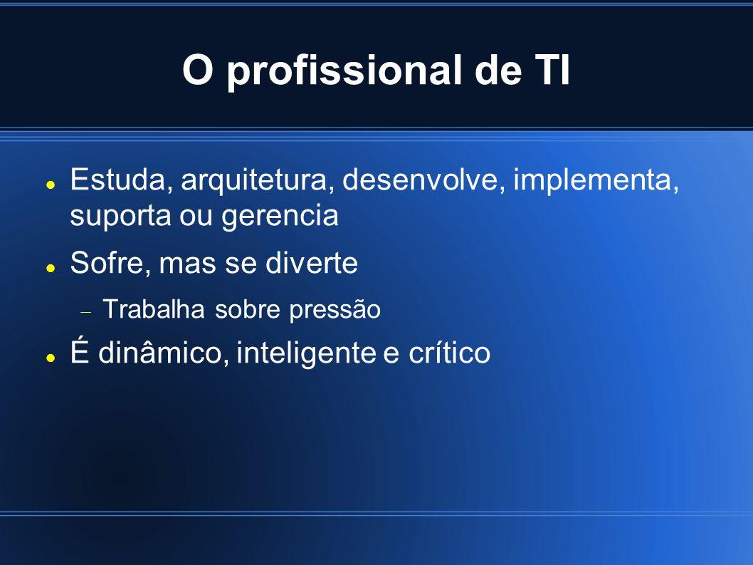 O profissional de TI Estuda, arquitetura, desenvolve, implementa, suporta ou gerencia Sofre, mas se diverte Trabalha sobre pressão É dinâmico, inteligente e crítico