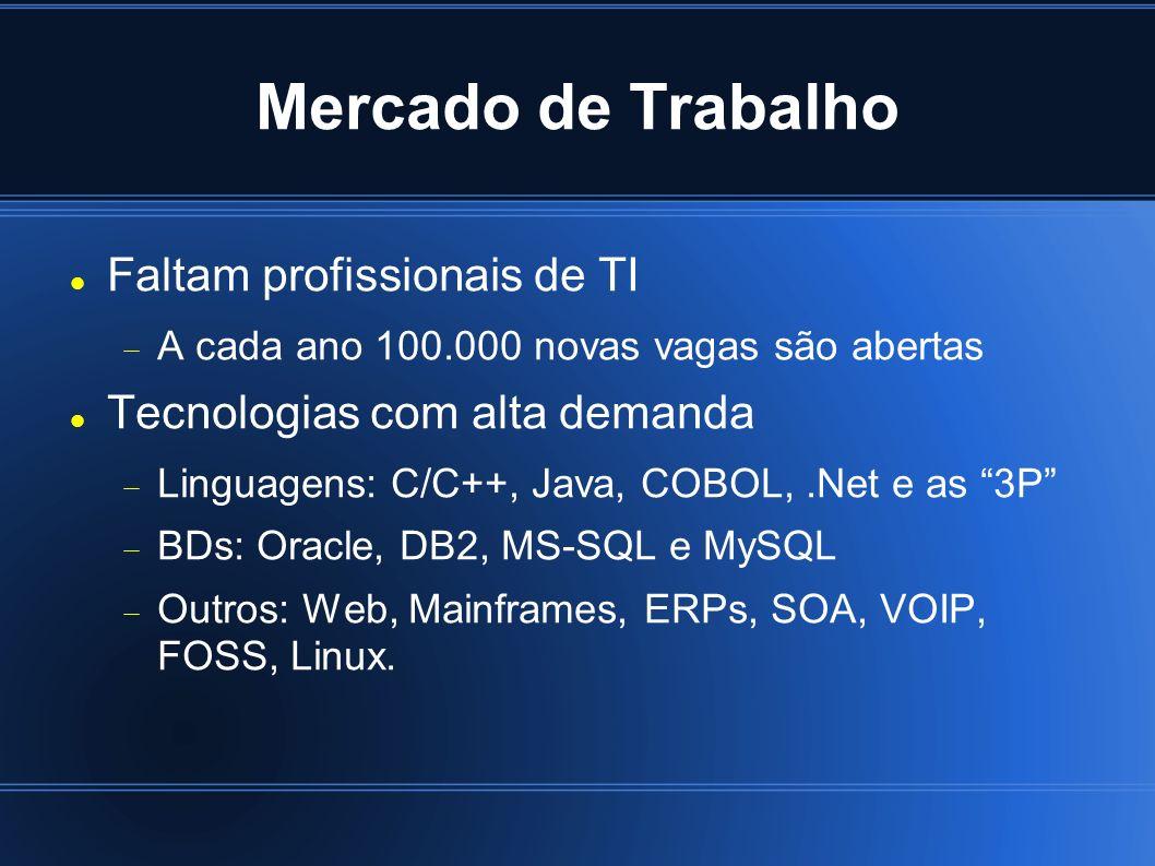 Mercado de Trabalho Faltam profissionais de TI A cada ano 100.000 novas vagas são abertas Tecnologias com alta demanda Linguagens: C/C++, Java, COBOL,.Net e as 3P BDs: Oracle, DB2, MS-SQL e MySQL Outros: Web, Mainframes, ERPs, SOA, VOIP, FOSS, Linux.