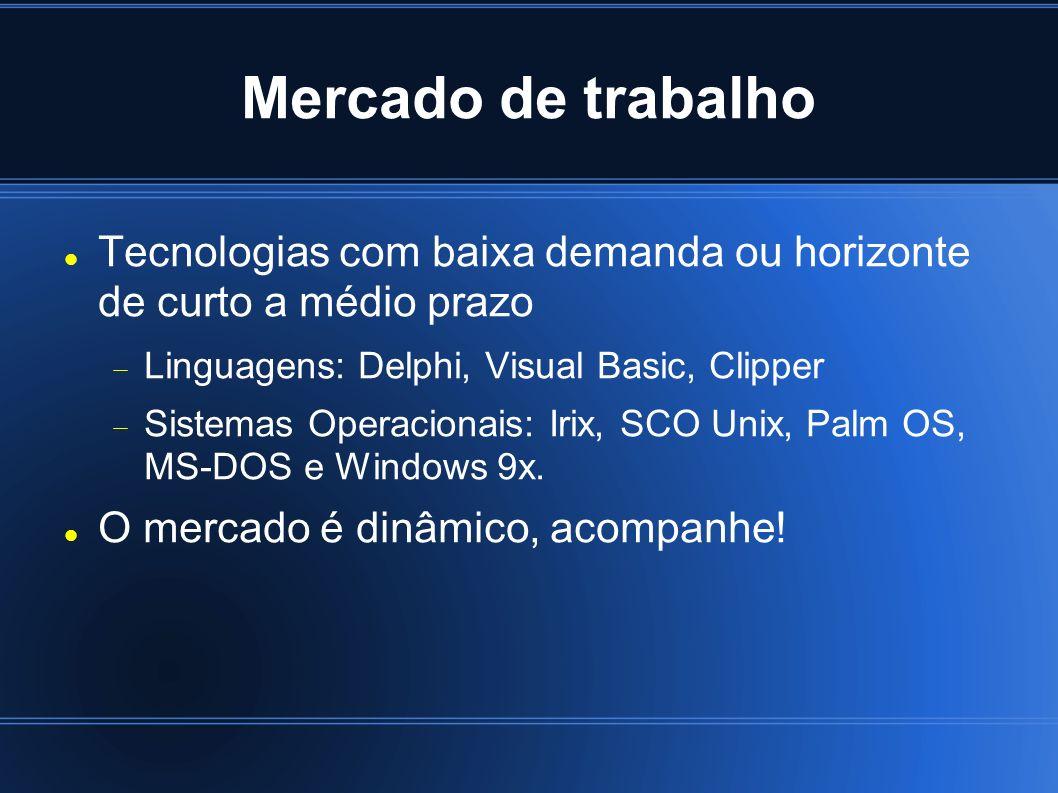 Mercado de trabalho Tecnologias com baixa demanda ou horizonte de curto a médio prazo Linguagens: Delphi, Visual Basic, Clipper Sistemas Operacionais: Irix, SCO Unix, Palm OS, MS-DOS e Windows 9x.
