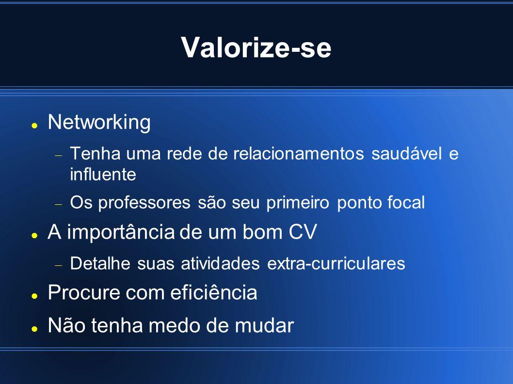 Valorize-se Networking Tenha uma rede de relacionamentos saudável e influente Os professores são seu primeiro ponto focal A importância de um bom CV D