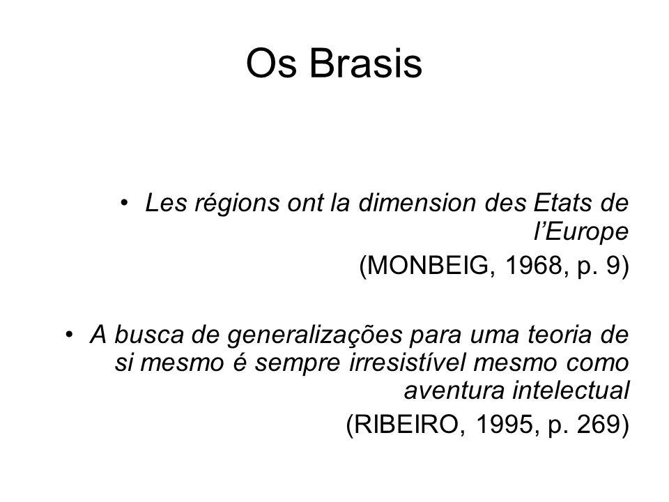 Os Brasis Les régions ont la dimension des Etats de lEurope (MONBEIG, 1968, p. 9) A busca de generalizações para uma teoria de si mesmo é sempre irres