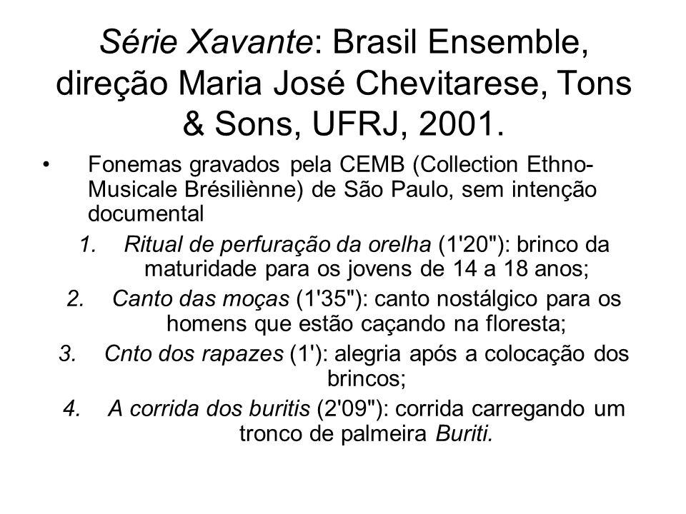 Série Xavante: Brasil Ensemble, direção Maria José Chevitarese, Tons & Sons, UFRJ, 2001. Fonemas gravados pela CEMB (Collection Ethno- Musicale Brésil