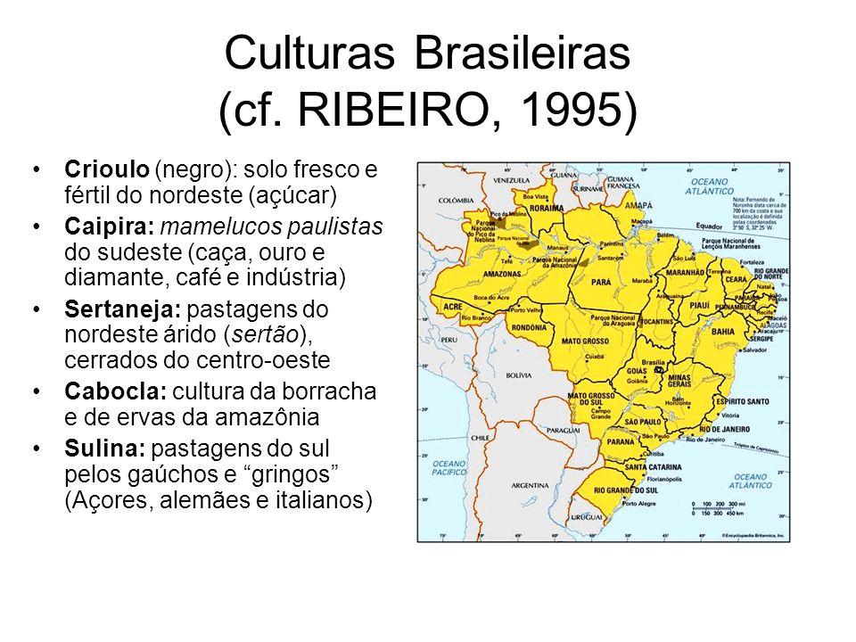 Culturas Brasileiras (cf. RIBEIRO, 1995) Crioulo (negro): solo fresco e fértil do nordeste (açúcar) Caipira: mamelucos paulistas do sudeste (caça, our