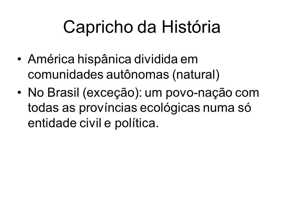 Capricho da História América hispânica dividida em comunidades autônomas (natural) No Brasil (exceção): um povo-nação com todas as províncias ecológic