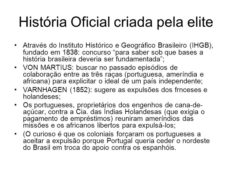 História Oficial criada pela elite Através do Instituto Histórico e Geográfico Brasileiro (IHGB), fundado em 1838: concurso para saber sob que bases a