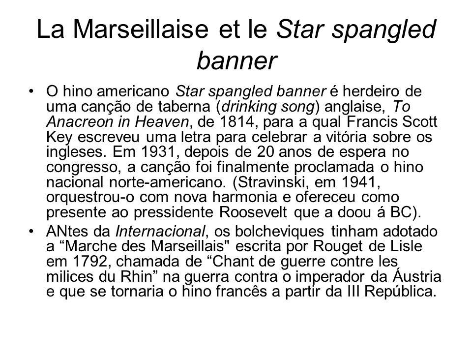 La Marseillaise et le Star spangled banner O hino americano Star spangled banner é herdeiro de uma canção de taberna (drinking song) anglaise, To Anac