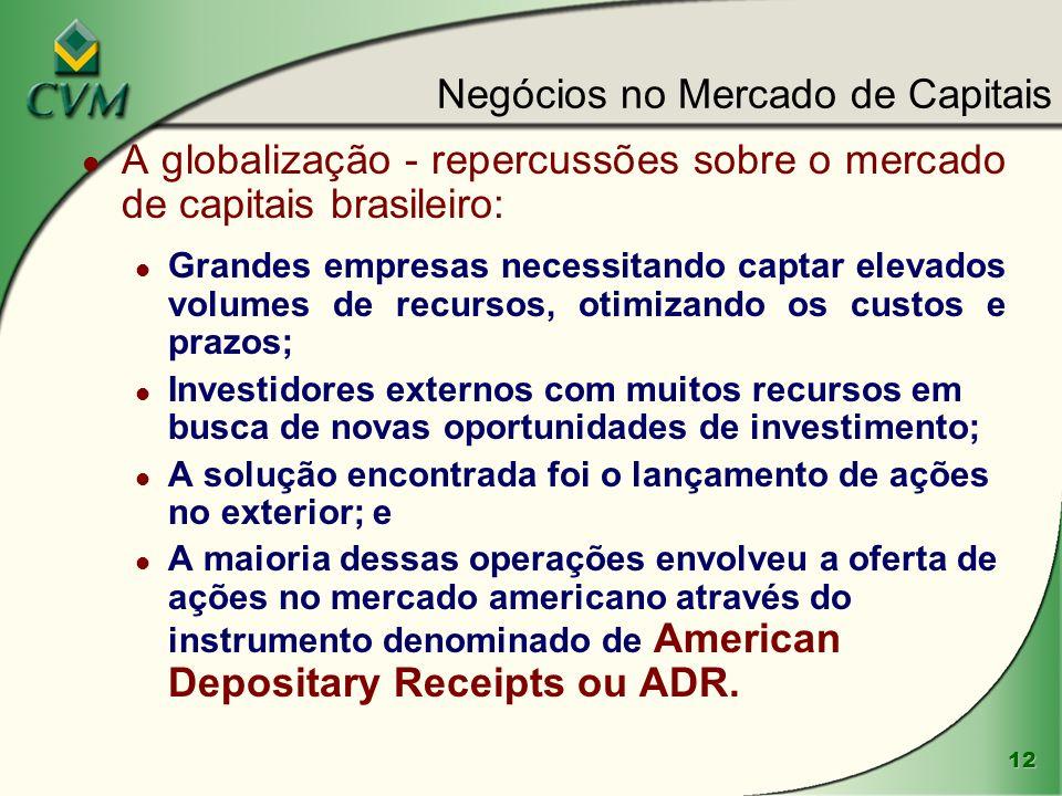 12 Negócios no Mercado de Capitais l A globalização - repercussões sobre o mercado de capitais brasileiro: l Grandes empresas necessitando captar elev