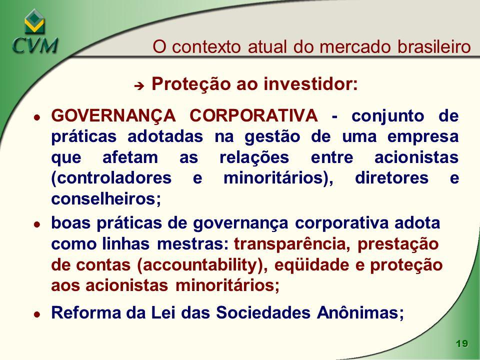 19 è Proteção ao investidor: l GOVERNANÇA CORPORATIVA - conjunto de práticas adotadas na gestão de uma empresa que afetam as relações entre acionistas