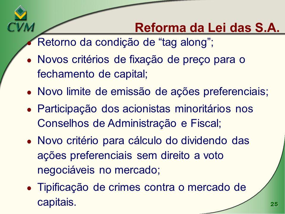 25 Reforma da Lei das S.A. l Retorno da condição de tag along; l Novos critérios de fixação de preço para o fechamento de capital; l Novo limite de em