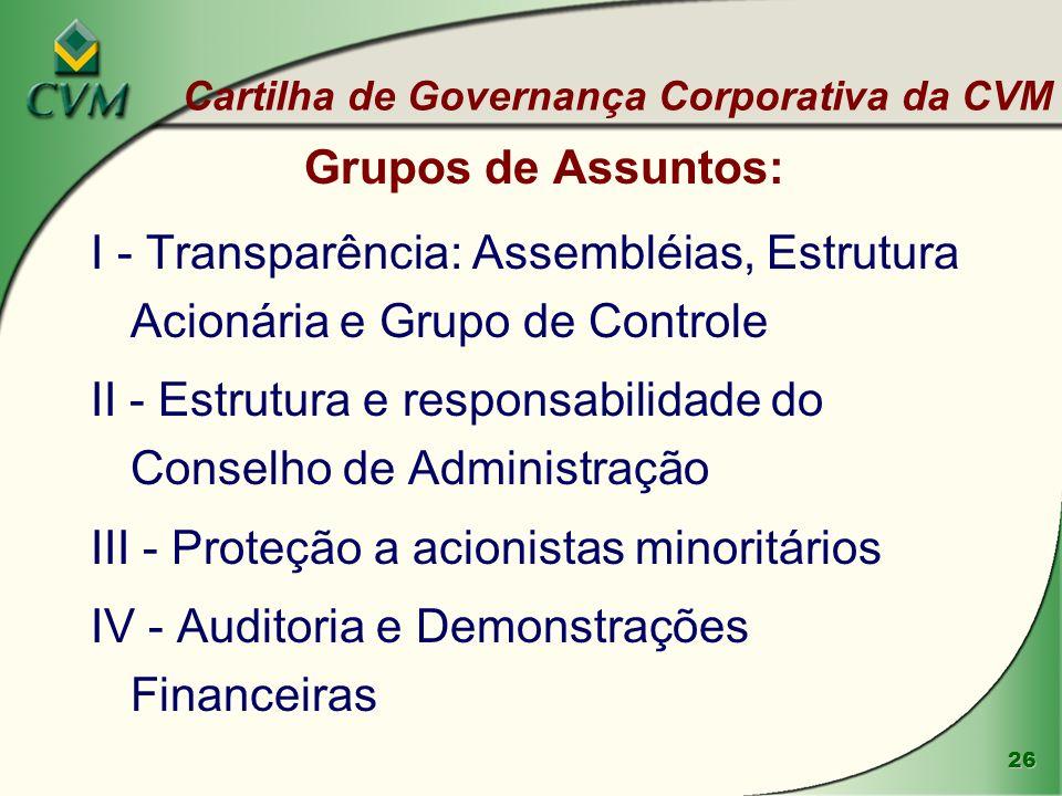 26 Grupos de Assuntos: I - Transparência: Assembléias, Estrutura Acionária e Grupo de Controle II - Estrutura e responsabilidade do Conselho de Admini
