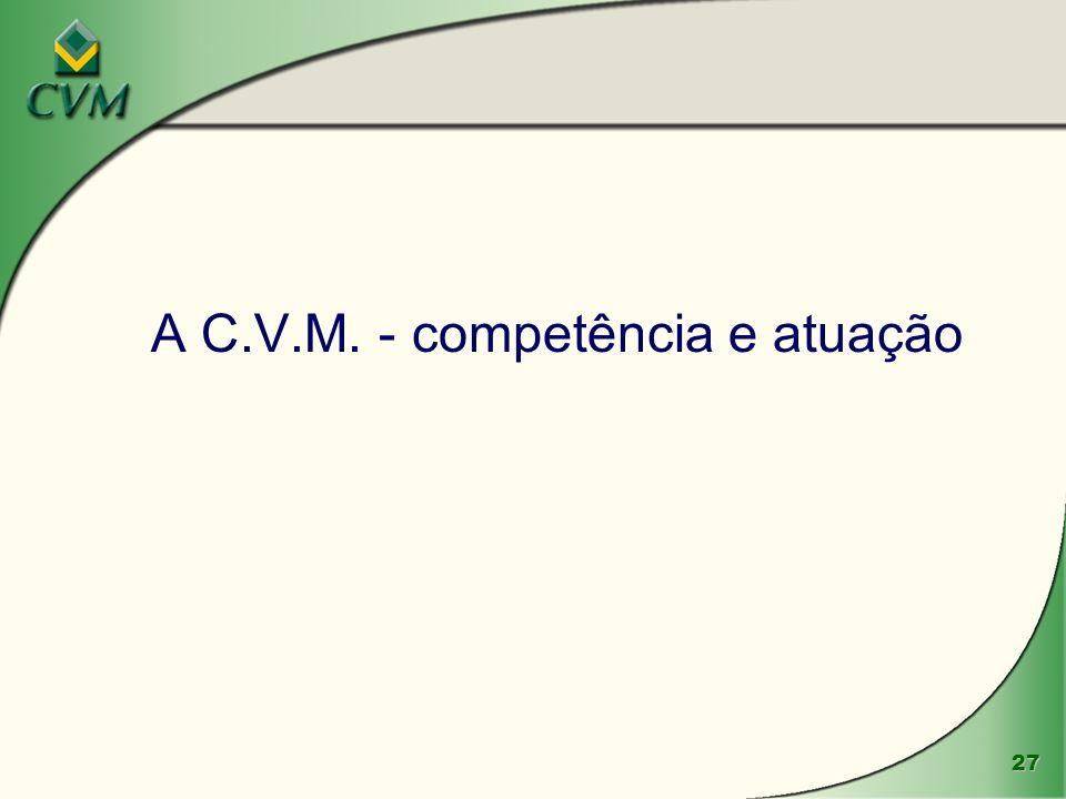 27 A C.V.M. - competência e atuação