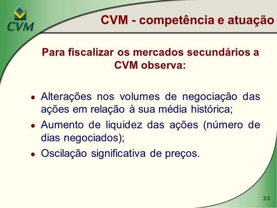 33 Para fiscalizar os mercados secundários a CVM observa: l Alterações nos volumes de negociação das ações em relação à sua média histórica; l Aumento