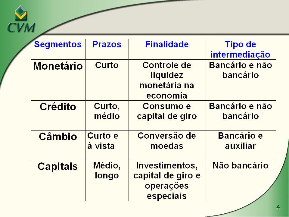 5 O PROCESSO DE FINANCIAMENTO : AGENTES: l Unidades superavitárias (poupadores) l Unidades deficitárias (investidores) l Instituições Financeiras MECANISMOS DE FINANCIAMENTO: l Financiamento indireto (intermediado): mercado de crédito l Financiamento direto: mercado de capitais Negócios no Mercado de Capitais