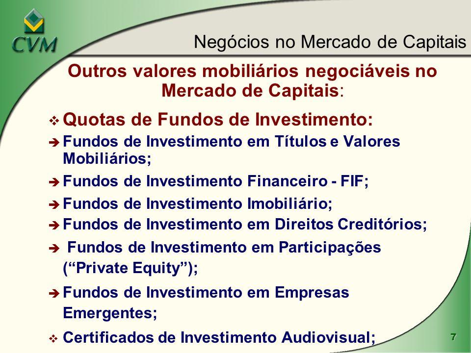 7 Outros valores mobiliários negociáveis no Mercado de Capitais: v Quotas de Fundos de Investimento: è Fundos de Investimento em Títulos e Valores Mob