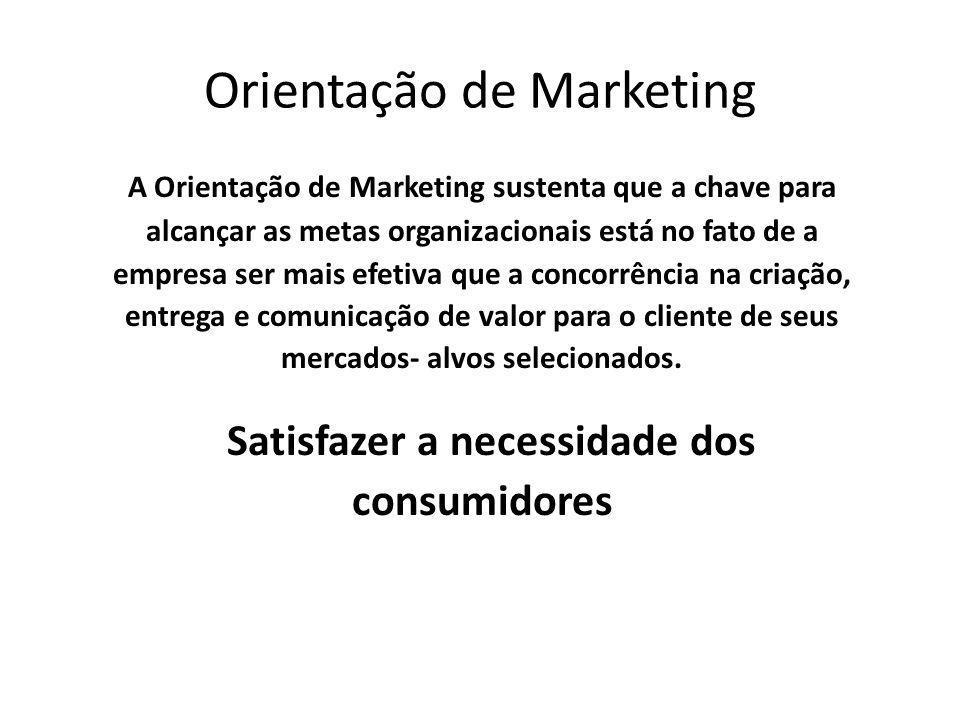 Orientação de Marketing A Orientação de Marketing sustenta que a chave para alcançar as metas organizacionais está no fato de a empresa ser mais efeti