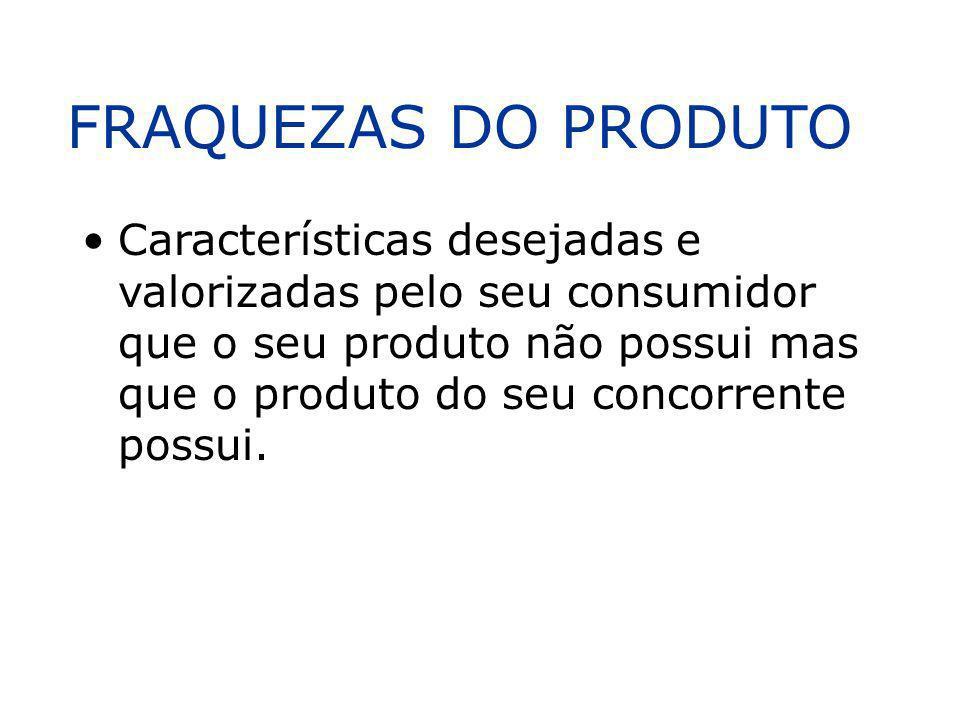 FRAQUEZAS DO PRODUTO Características desejadas e valorizadas pelo seu consumidor que o seu produto não possui mas que o produto do seu concorrente pos
