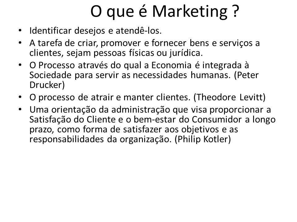 O que é Marketing ? Identificar desejos e atendê-los. A tarefa de criar, promover e fornecer bens e serviços a clientes, sejam pessoas físicas ou jurí