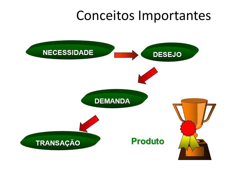 Conceitos ImportantesProduto NECESSIDADE DEMANDA DESEJO TRANSAÇÃO