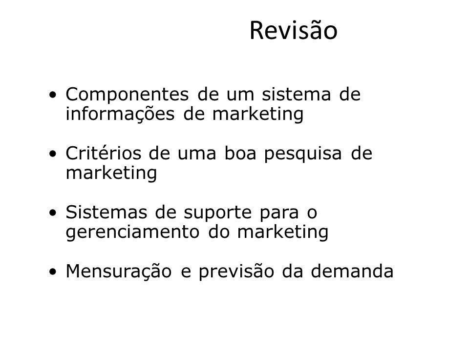 Revisão Componentes de um sistema de informações de marketing Critérios de uma boa pesquisa de marketing Sistemas de suporte para o gerenciamento do m