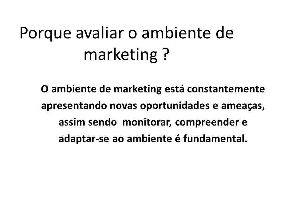 Porque avaliar o ambiente de marketing ? O ambiente de marketing está constantemente apresentando novas oportunidades e ameaças, assim sendo monitorar