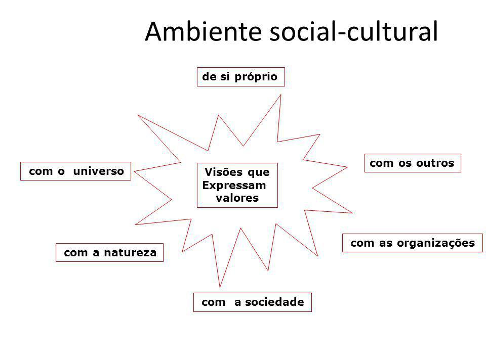 Ambiente social-cultural de si próprio com os outros com as organizações com a sociedade com a natureza com o universo Visões que Expressam valores de