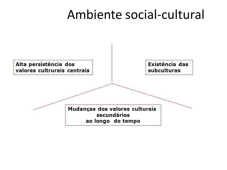 Ambiente social-cultural Alta persistência dos valores cultrurais centrais Existência das subculturas Mudanças dos valores culturais secundários ao lo