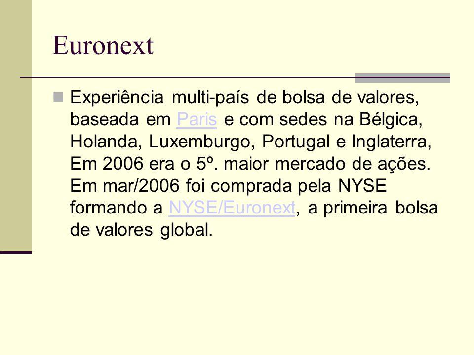 Euronext Experiência multi-país de bolsa de valores, baseada em Paris e com sedes na Bélgica, Holanda, Luxemburgo, Portugal e Inglaterra, Em 2006 era
