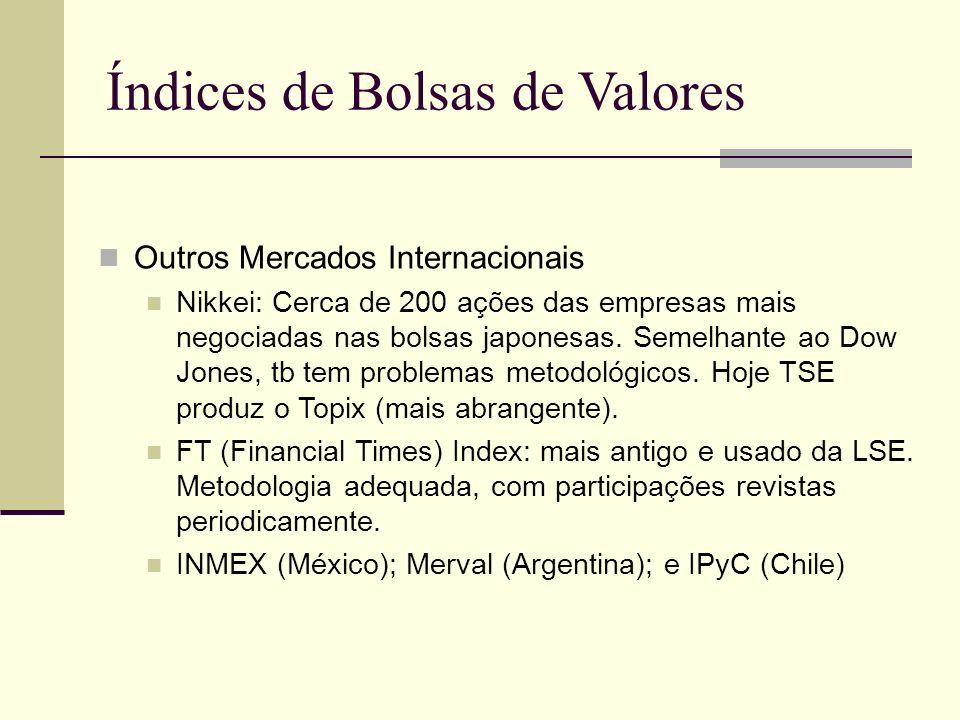 Índices de Bolsas de Valores Outros Mercados Internacionais Nikkei: Cerca de 200 ações das empresas mais negociadas nas bolsas japonesas. Semelhante a