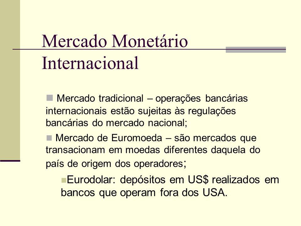 Mercado Monetário Internacional Mercado tradicional – operações bancárias internacionais estão sujeitas às regulações bancárias do mercado nacional; M