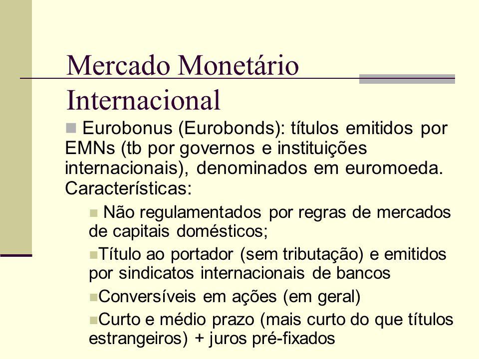 Mercado Monetário Internacional Eurobonus (Eurobonds): títulos emitidos por EMNs (tb por governos e instituições internacionais), denominados em eurom