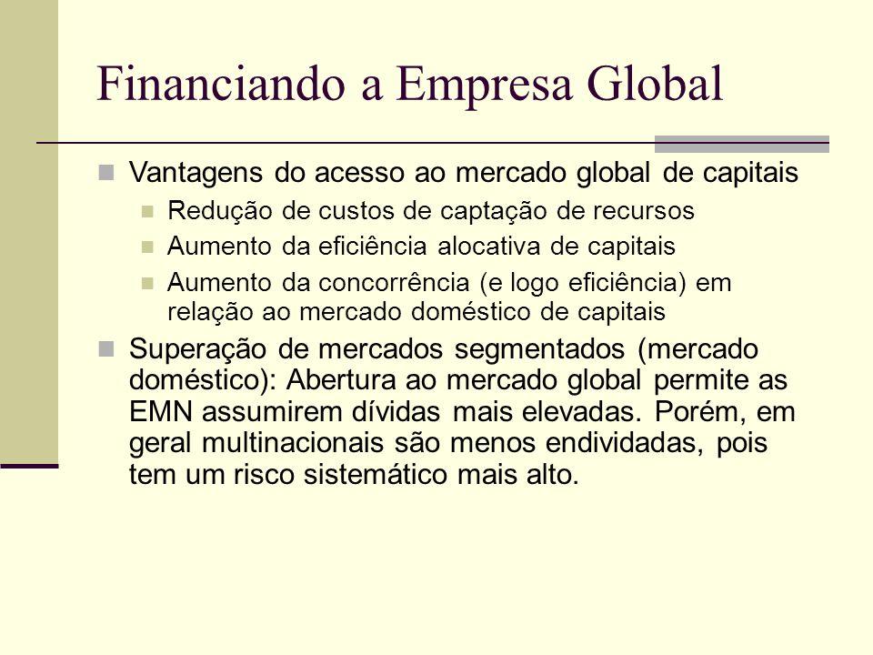 Financiando a Empresa Global Vantagens do acesso ao mercado global de capitais Redução de custos de captação de recursos Aumento da eficiência alocati
