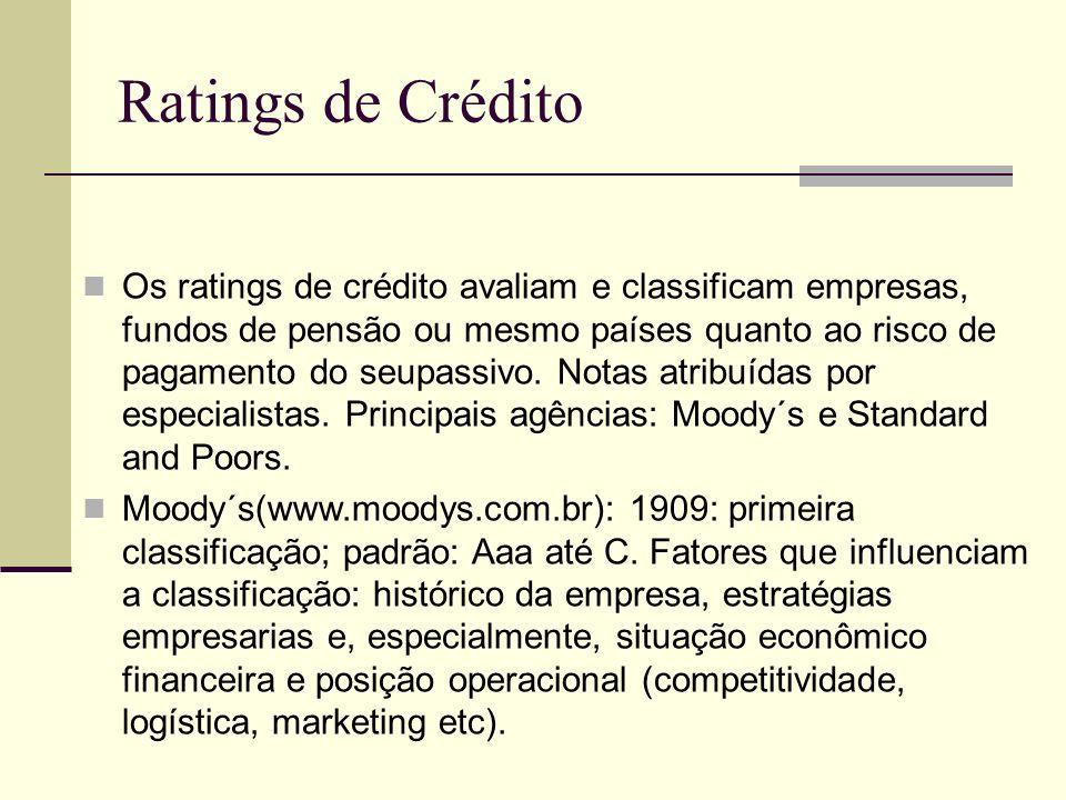 Ratings de Crédito Os ratings de crédito avaliam e classificam empresas, fundos de pensão ou mesmo países quanto ao risco de pagamento do seupassivo.