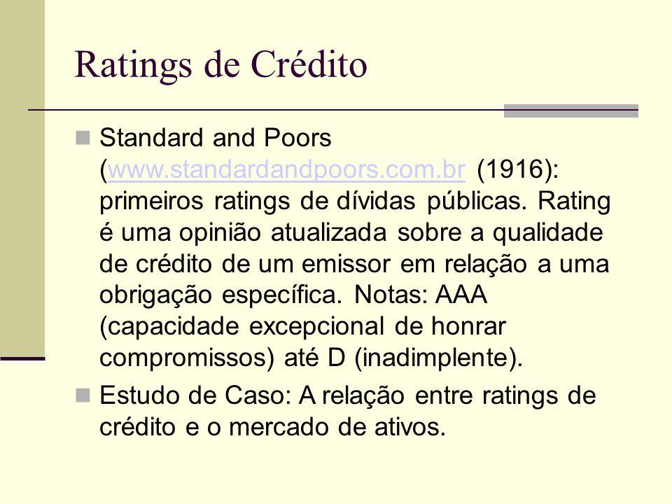 Ratings de Crédito Standard and Poors (www.standardandpoors.com.br (1916): primeiros ratings de dívidas públicas. Rating é uma opinião atualizada sobr