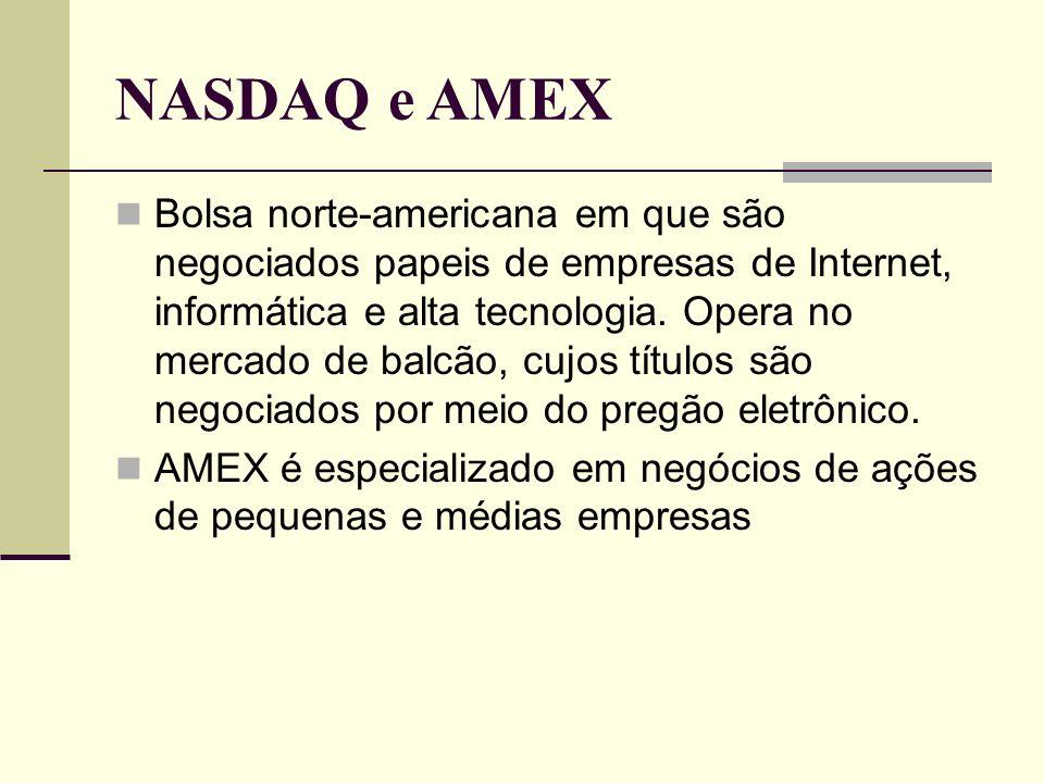 NASDAQ e AMEX Bolsa norte-americana em que são negociados papeis de empresas de Internet, informática e alta tecnologia. Opera no mercado de balcão, c