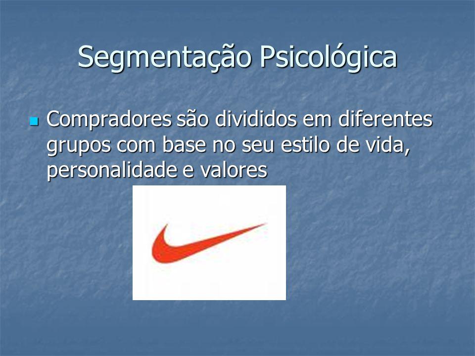 Segmentação Psicológica Compradores são divididos em diferentes grupos com base no seu estilo de vida, personalidade e valores Compradores são dividid