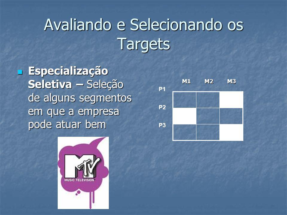 Avaliando e Selecionando os Targets Especialização Seletiva – Seleção de alguns segmentos em que a empresa pode atuar bem Especialização Seletiva – Se