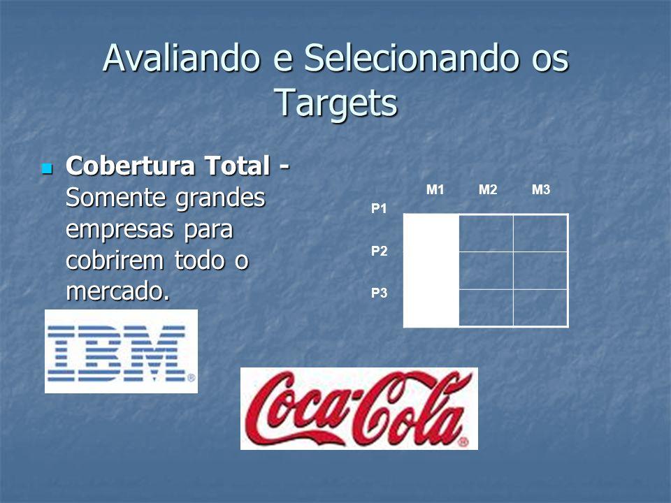 Avaliando e Selecionando os Targets Cobertura Total - Somente grandes empresas para cobrirem todo o mercado. Cobertura Total - Somente grandes empresa