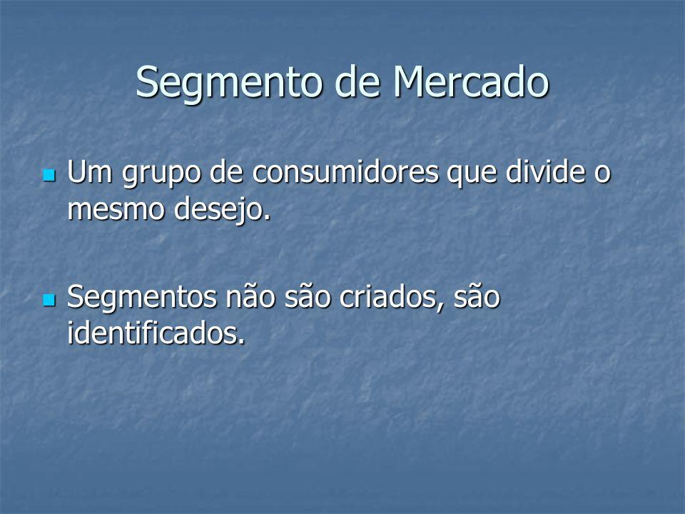 Segmento de Mercado Um grupo de consumidores que divide o mesmo desejo. Um grupo de consumidores que divide o mesmo desejo. Segmentos não são criados,
