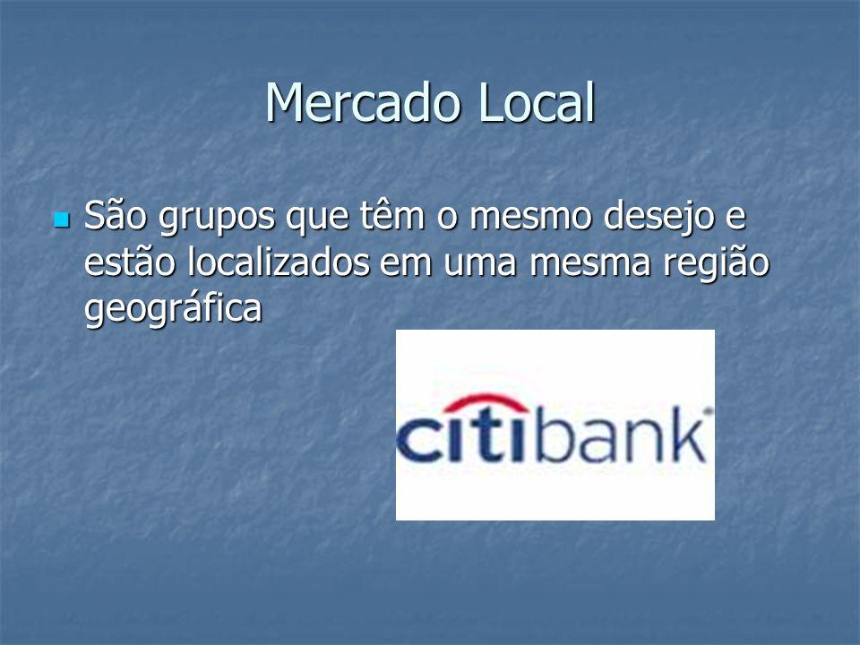 Mercado Local São grupos que têm o mesmo desejo e estão localizados em uma mesma região geográfica São grupos que têm o mesmo desejo e estão localizad