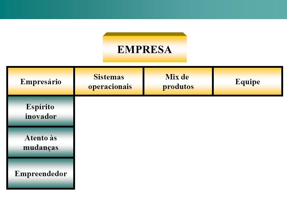 EMPRESA Empresário Sistemas operacionais Mix de produtos Equipe Espírito inovador Atento às mudanças Empreendedor