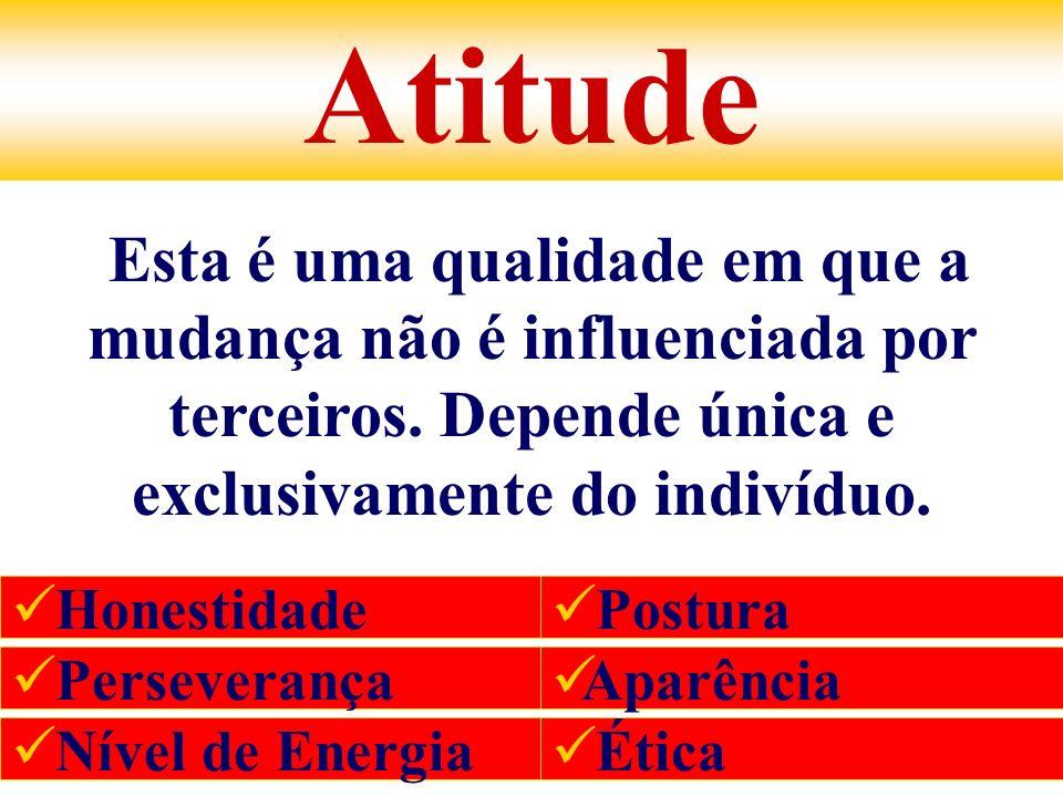 Atitude Esta é uma qualidade em que a mudança não é influenciada por terceiros. Depende única e exclusivamente do indivíduo. Honestidade Perseverança