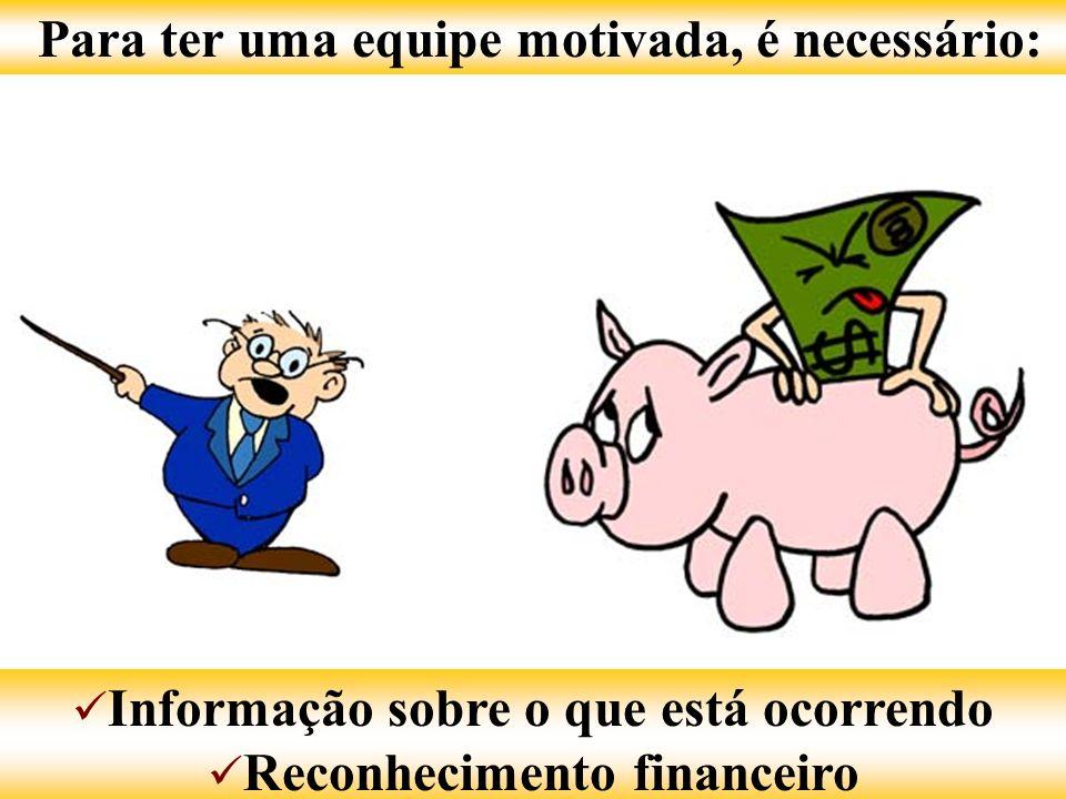 Para ter uma equipe motivada, é necessário: Informação sobre o que está ocorrendo Informação sobre o que está ocorrendo Reconhecimento financeiro