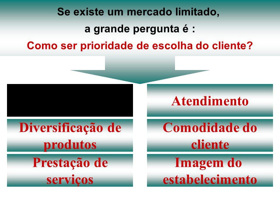 Se existe um mercado limitado, a grande pergunta é : Como ser prioridade de escolha do cliente? Preço Diversificação de produtos Prestação de serviços