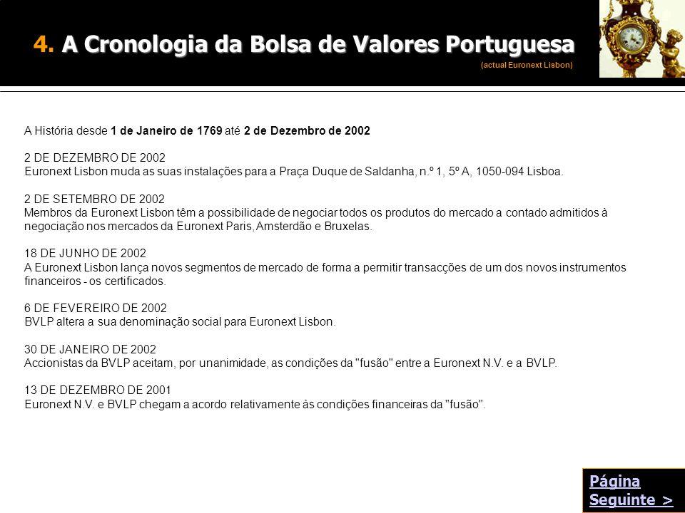 A Cronologia da Bolsa de Valores Portuguesa 4. A Cronologia da Bolsa de Valores Portuguesa A História desde 1 de Janeiro de 1769 até 2 de Dezembro de