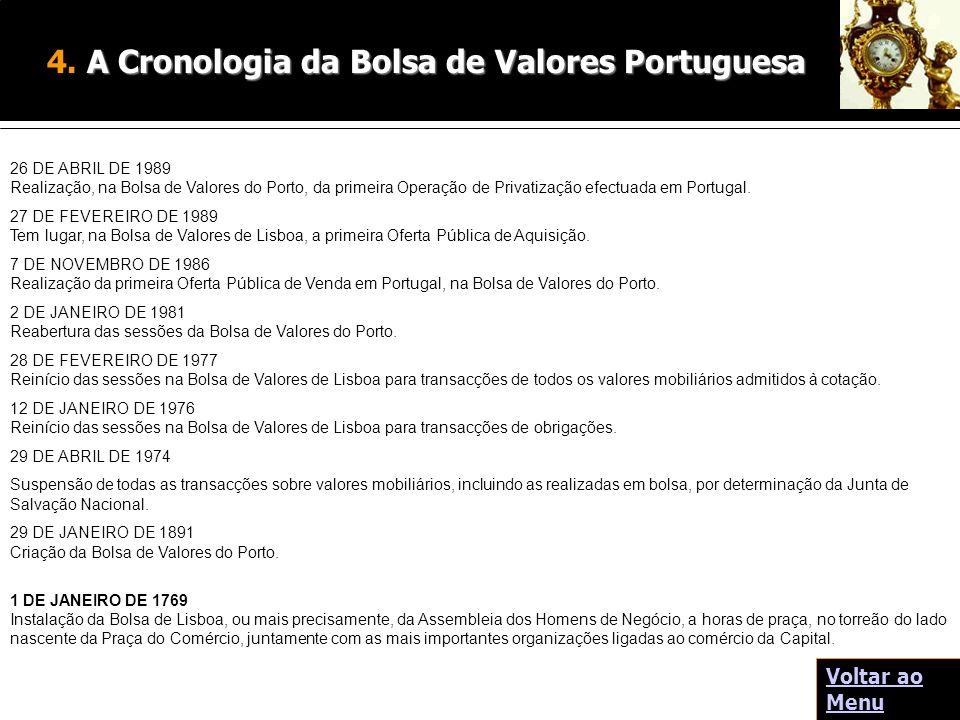 26 DE ABRIL DE 1989 Realização, na Bolsa de Valores do Porto, da primeira Operação de Privatização efectuada em Portugal. 27 DE FEVEREIRO DE 1989 Tem