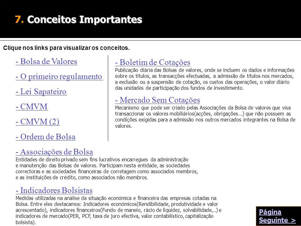 Conceitos Importantes 7. Conceitos Importantes - Bolsa de Valores Clique nos links para visualizar os conceitos. - O primeiro regulamento - Lei Sapate